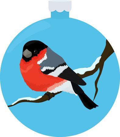 Single bullfinch bird on snow branch in blue Christmas-tree ball design