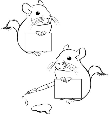 Cute chinchilla with paper poster vector outline. Black and white illustration