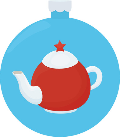 White and red teapot with red star. Cartoon llustration on blue christmas ball Stock Photo