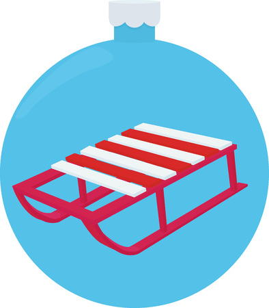 A Vector illustration of wooden red colored sleds. Retro looking red snow sled for kids