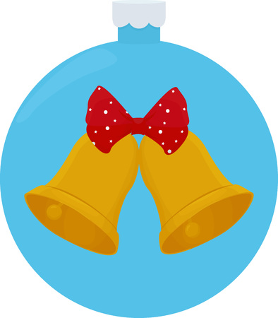 Golden Christmas bells with a red bow cartoon vector illustration Ilustrace