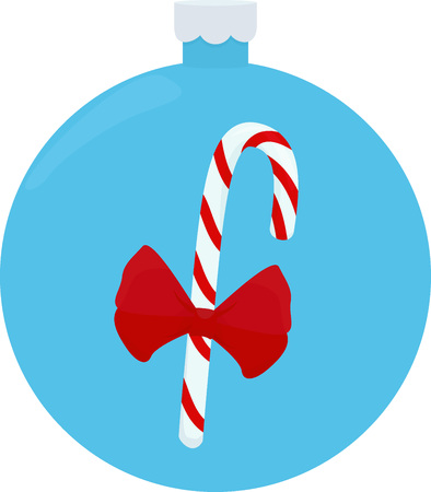 Christmas candy vector illustration. Caramel cane, lollipops. Christmas and New Year sweet on blue Christmas ball