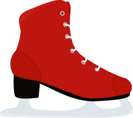 Red classic ice figure skate icon. Side view.