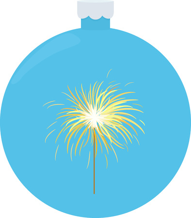 Bengal or indian light sparkler, Bengal fire on blue christmas ball. Salute element for celebration of holidays and parties Illustration