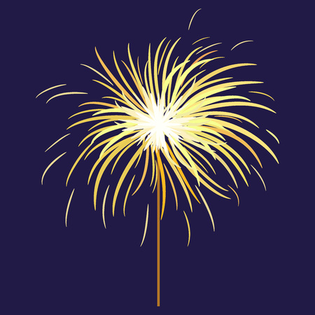 Bengal or Indian light sparkler, Bengal fire on dark blue background. Salute element for celebration of holidays and parties. Illustration