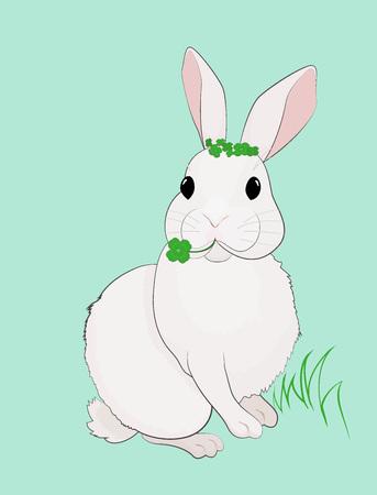Easter Bunny and Four Leaf Clover Vector illustration.