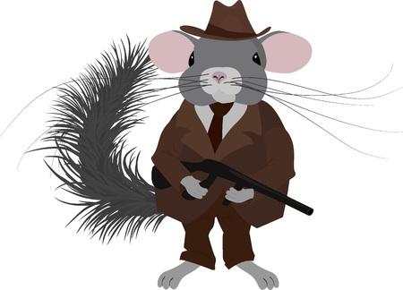 Gangster chinchilla.Mafia chinchilla habillé dans un style rétro, look vintage