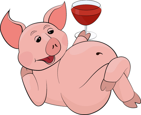 funny pink lying and drinking red juice or wine in a glass goblet Illustration
