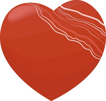 mineral stone Carnelian on white background in the shape of a heart