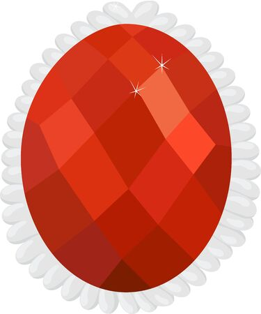 Garnet or hessonite in silver frame gemstone isolated on white background Illustration