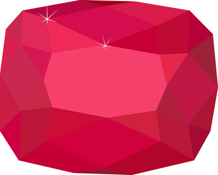 Natural Red Spinel gemstone isolated on white background
