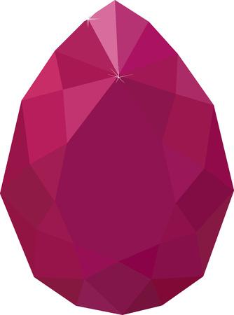 dark pink red ruby drop gemstone isolated on white background Stock Illustratie