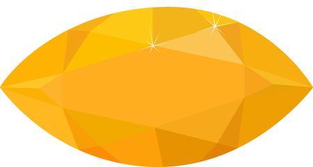 orange topaz, yellow diamond isolated on white background. Vector illustration.