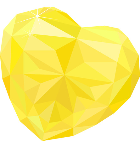 heart shape topaz, yellow gem isolated on white background. Vector illustration.