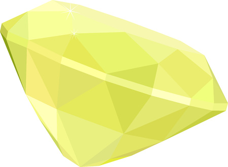 citrine or topaz, yellow diamond gem isolated on white background. Vector illustration. Illustration