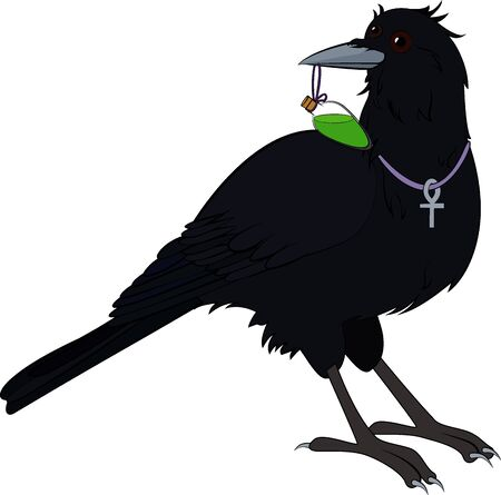 mystical raven bird with green poison isolated on white
