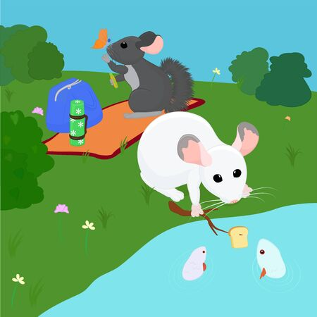 chinchillas relax in nature, near the river 向量圖像