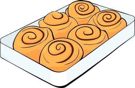 cinnabon buns with cinnamon on a tray. cinnamon rolls and chocolate vector stock illustration with black outline