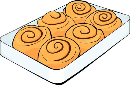 cinnabon buns with cinnamon on a tray. cinnamon rolls and chocolate vector stock illustration with black outline