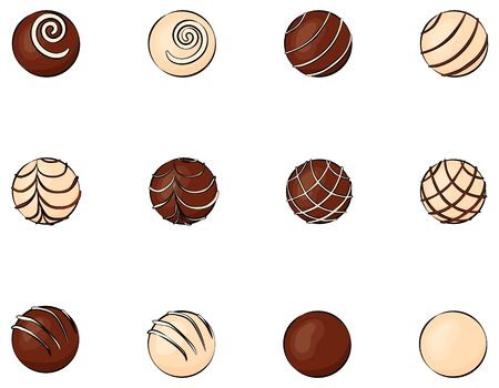 Round chocolates with different decor. sweets made of white and dark chocolate isolated on white for menu or greeting card for a holiday or for Valentines Day