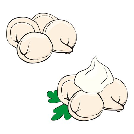 pelmeni or dumplings in cartoon style. Meat dumplings with parsley and sour cream. Cooking. National dish with dough and meat. Vector black outline illustration isolated on white  イラスト・ベクター素材