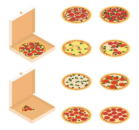 Isometric vector illustration of pizza. pizza in a box and without with different options for ingredients. fast food isolated on a white background.