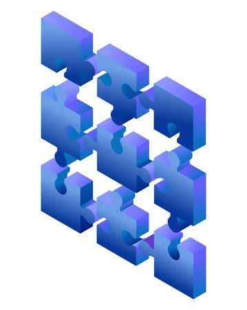Pièces de puzzle dégradé bleu isométrique isolés sur fond blanc. Concept de travail d'équipe, de communication, de problème ou de solution de défi.
