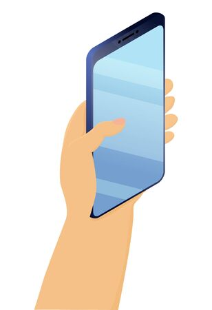 Hand holds smartphone with blank screen.Mobile phone in hand isolated on white background. Template, layout for inserting information. Smart phone user. Vector stock illustration