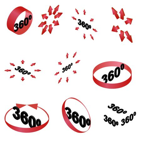 360 degree view red glyph vector icons set