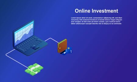 Online Investment with laptop concept illustration