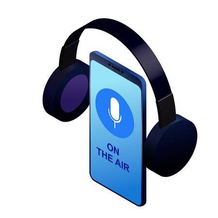 Podcast concept illustration. Smart phone for audio recording. Music, webinar or online training isometric vector illustration