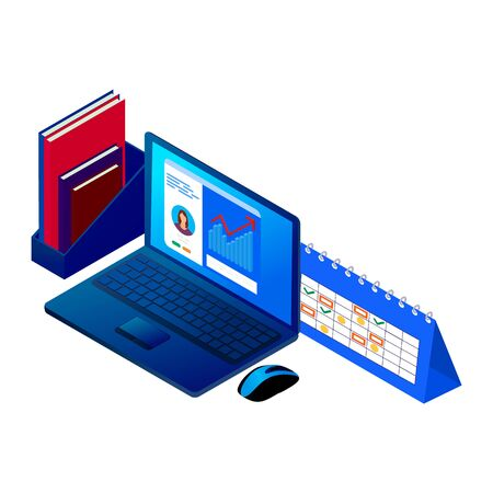 isometric online learning concept. laptop with video tutorial on screen. distance work isolated vector illustration