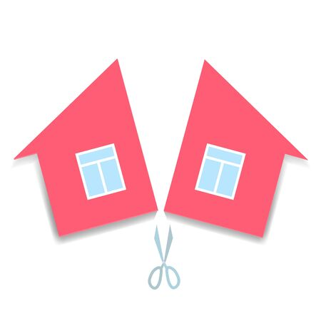 concept of divorce and division of property. pink paper house cut in half. vector illustration Ilustracje wektorowe