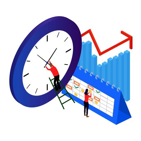 isometric time management concept. the man in red corrects the time of the blue clock. vector illustration isolated on white