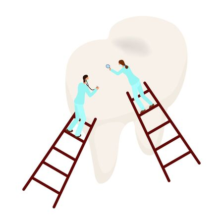 dentists examine a tooth. isometric illustration of dentistry. tooth care concept vector illustration