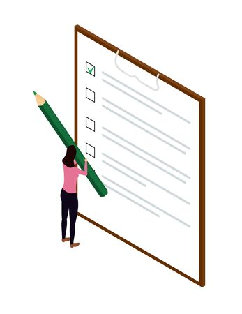 check sheet with a green tick and a girl with a pencil. concept of approval, sociological survey. isometric checklist