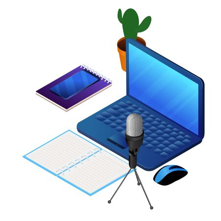 Podcast concept illustration. Laptop and microphone for audio recording. Music, webinar or online training isometric vector illustration