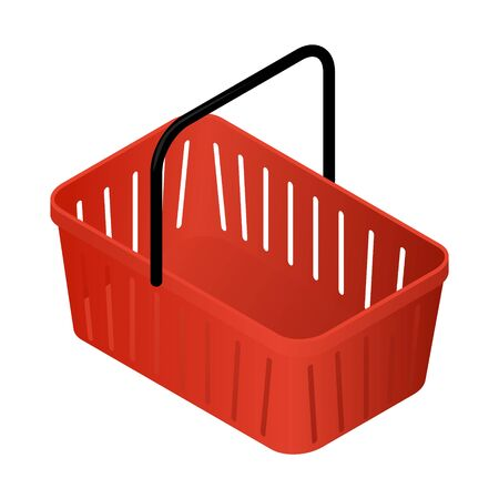 red isometric basket with black pen isolated on white background. empty shopping cart vector illustration