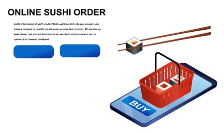 online order sushi isometric vector illustration. japanese food delivery concept isolated on white background