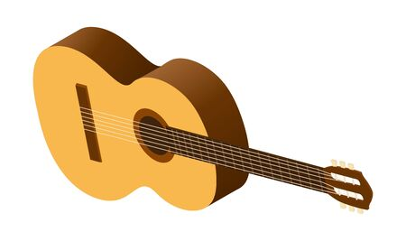 Isometric classical acoustic guitar icon. Isolated on white guitar. Musical string instrument vector illustration.