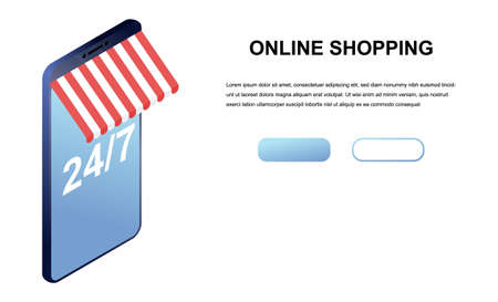Isometric illustration of online shopping isolated on a white background. convenience store, concept for landing page. Vettoriali