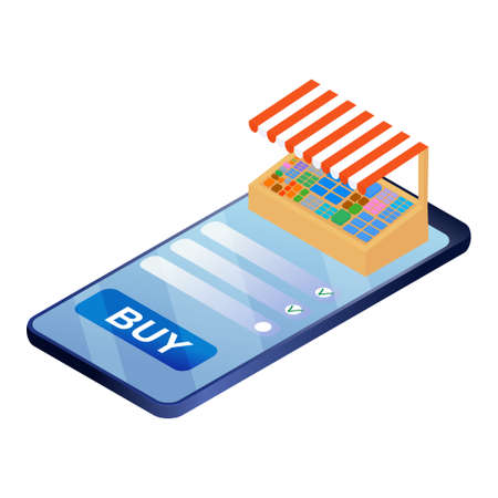 Isometric illustration of online shopping isolated on a white background. convenience store, concept for landing page. Ilustracja