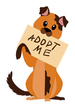 homeless dog with poster adopt me holding in the teeth isolated on white. pet for adoption. vector concept of help animals find a home