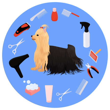 Dog grooming icons vector set and yorkshire terrier. cartoon illustration for beauty salon logo.  イラスト・ベクター素材