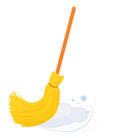 yellow broom with long wooden handle sweeping floor. Broom isolated on white, household implement from dust and dirt vector illustration Illusztráció