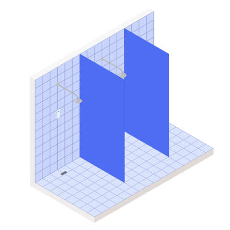 Isometric showers cabins in pool or gym. Vector interior illustration of bath room