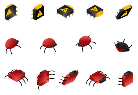 Computer bug isometric icon set isolated on white. Symbols of digital virus and glitch. Vector data danger concept illustration.