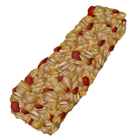 Granola bar isolated on white. Realistic healthy muesli snack with oatmeal and red berry. Vector illustration.
