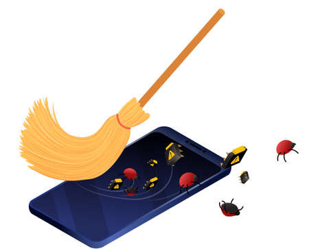 Smartphone service and debugging concept. Broom cleaning mobile phone from bugs and viruses. Isometric vector illustration data protection, information security.