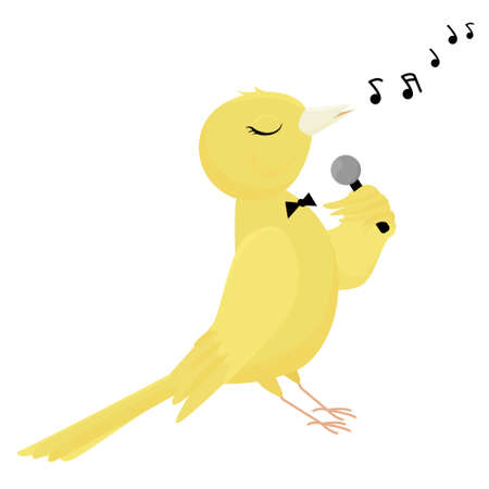 Singing canary isolated on white background. Vector illustration of a pet. Cartoon yellow bird with microphone 向量圖像